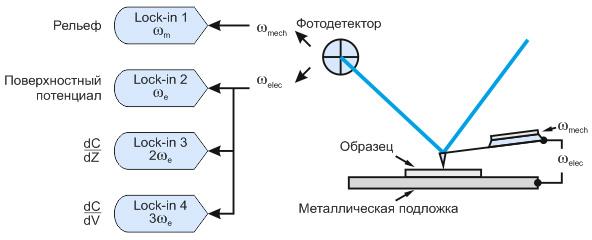 Рис. 1 Схема измерений по АСМ